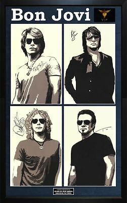 Bon Jovi Jon Richie Sambora Plus Band Autographed Litho Custom Display