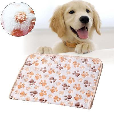 Pet Mat Paw Print Cat Dog Puppy Fleece Soft Blanket Cushion White 20 x 20cm MT
