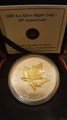 2008 1oz ounce Silver Maple Leaf Gold Plated 20th Anniversary Limited 10,000