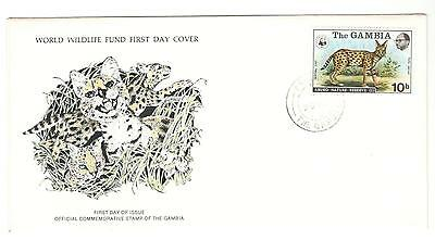 Gambia Fdc 1976 Cat Stamps The Serval Cat Wwf Gambia Stamps Africa Stamps
