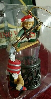 Coca-Cola Bottling Works Collection Ornament Elves Cleaning on Coke Glass.
