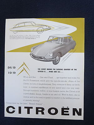 CITROEN DS19 ID19 1957 Sales Dealer Auto Brochure Air-Oil Suspension Excellent