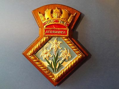 Wooden backed coat of arms HM South Africa Navy ship  AFRIKANDER HMSAS