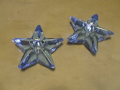 2 Vintage Cambridge Blue Glass Star Candle Holders