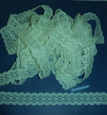 10  metres  of  Mnt green  Cotton   Look   Eyelet   Lace   25 mm  Wide