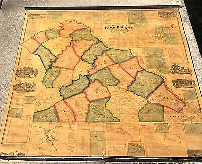 YORK County PA 1860 Wall Map Nice Condition