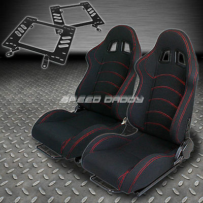 Pair Type-1 Reclining Black Cloth Racing Seat+Bracket For 79-98 Ford Mustang