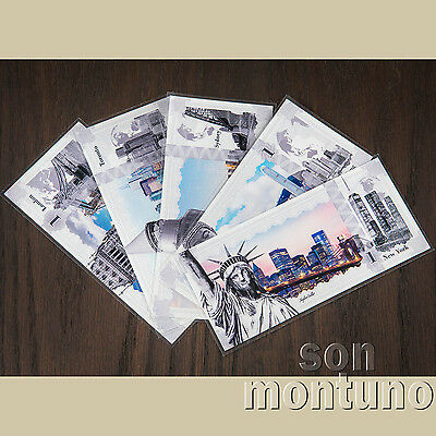 SET OF 5 Skyline Note Silver Dollars - NEW YORK LONDON SYDNEY TORONTO HONG KONG