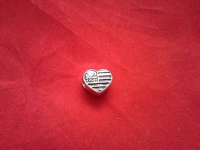 SILVER 925 HEART USA CHARM to fit MOSTLY BRACELET