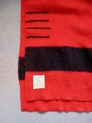 "Vintage Red ""hudson Bay Blanket"" 4-Point-Label ""made In England"" 100%wool"