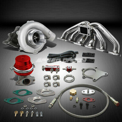 T04 .63Ar 400+Hp Boost 6Pc Turbo Charger+Manifold Kit For Rb20/rb25 Gts Skyline