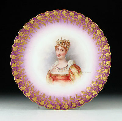 Antique Sevres Type French Porcelain Hand Painted Josephine Portrait Plate