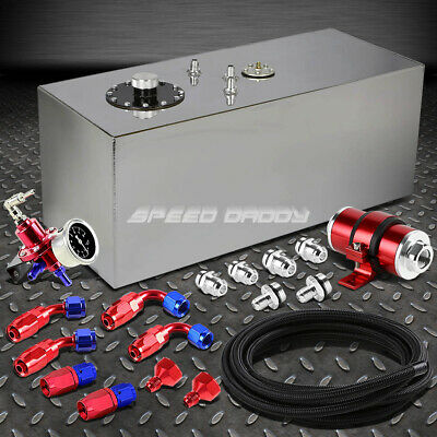 19 Gallon Top-Feed Fuel Cell Tank+Line Kit+Pressure Regulator+Inline Filter Red