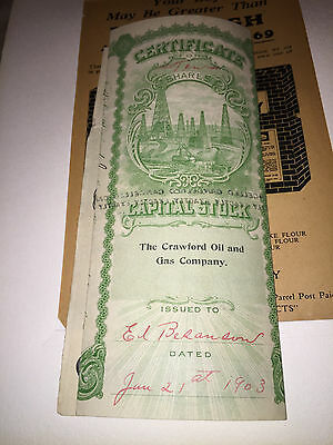 1903 Crawford Oil And Gas Company 10 Shares Of Capital Stock Certificate