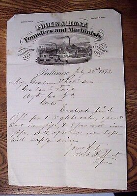 """LOOK! 1873 Letter Head """"POOLE & HUNT"""" Founders & Machinists-Baltimore, Maryland"""