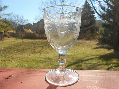 Old Antique EAPG Pattern Glass Goblet Deer & Doe w Lily of Valley
