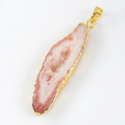 Red Agate Druzy Geode Slice Pendant Bead Gold Plated H82985