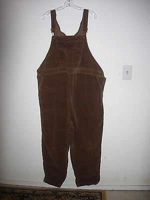 DUO MATERNITY size XL brown small wale corduroy maternity overalls