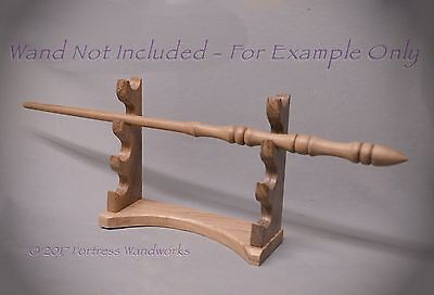 Wood Magic Wand Display for 4 Oak & Elm Wizard Pagan Wicca Metaphysical