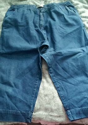 Cropped Denim Look Trousers size 18