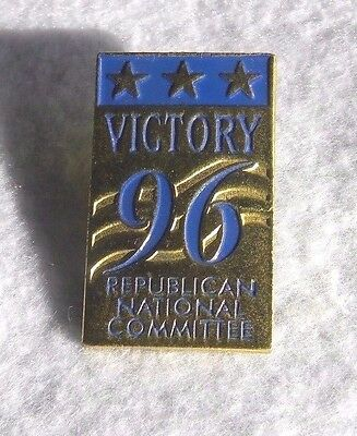 Republican National Committee - Vintage 1996 Hat Lapel Pin - Victory 96 - Euc
