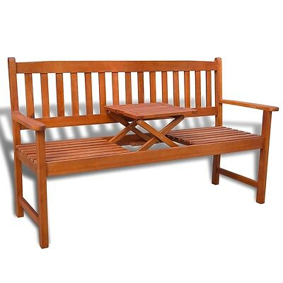 Outdoor Garden Bench with Pop-up Table Acacia Hardwood Patio Chair Seat