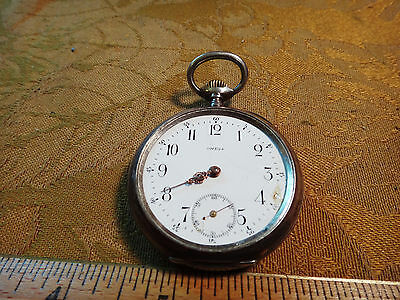 Vintage .800 Silver Omega Pocket Watch For Parts Repair - Free S&H USA
