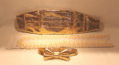 Shimmer GOLD Tied Bow Tie Matching Adjustable Cummerbund Button Ruffle Insert