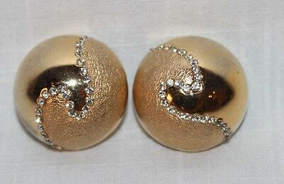 VTG Bijoux Cascio Gold Tone Shiny/Stamped Domed Circle Rhinestone Clip Earrings