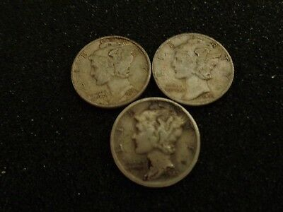 1941 P, D, S Silver Mercury Dimes - Lot of 3 US Coins - #395