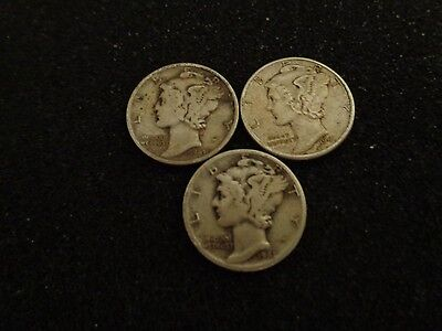 1941 P, D, S Silver Mercury Dimes - Lot of 3 US Coins - #396