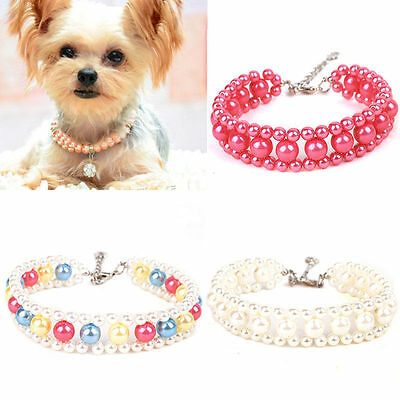 Fashion Pearls Bow Bone Cat Crystal Necklace Collar Kitten Beads Pet Dog