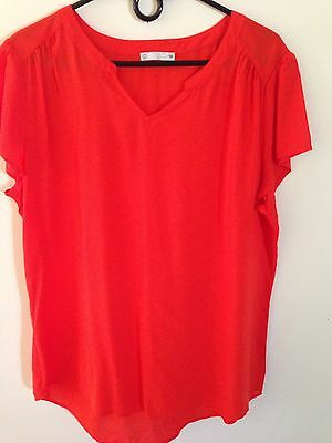2 Womens Short Sleeve Tops Size 14 Orange And Black