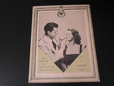 BETTE DAVIS HOUSE OF WESTMORE COSMETIC COUNTER SIGN DISPLAY 1930's WARNER BROS