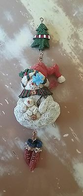 """Snowman Dangling Shoes Christmas Tree Ornament 8"""" Tall Approximately"""