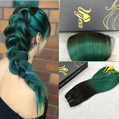 7A 7pcs Balayage Ombre Clip in Real Remy Human Hair Extensions Green Full Head