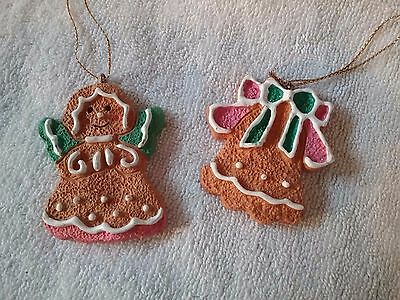 2 CUTE Frosted White Pink Green Cookies ANGEL & BELL Christmas Tree Ornament #48