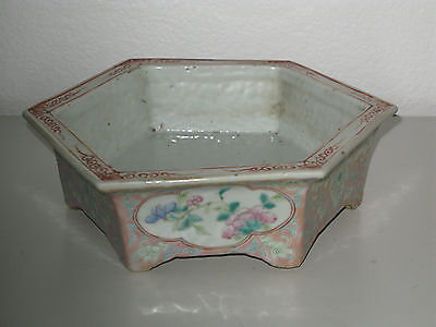 Antique Chinese Famille Rose flowers and plants hexagon Porcelain narcissus pot