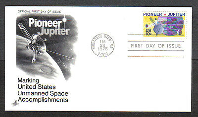 Us Fdc 1975 Pioneer Jupiter 10C Stamp Art Craft First Day Of Issue Cover