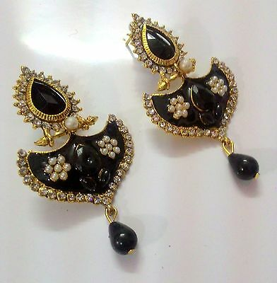 Designer Stylish Ethnic Partywear Gold Plated Wedding Dangle Pearl Drop Earrings