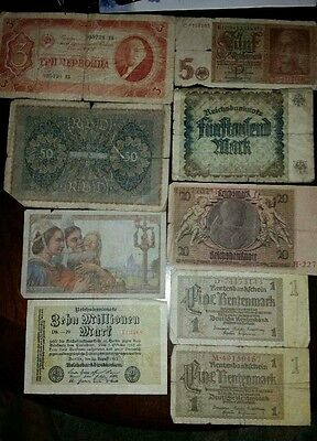Vintage CURRENCY Paper BankNotes LOT France Germany Russia
