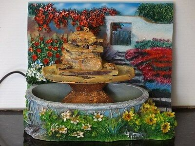 Floral COUNTRY GARDEN Table Top Desk Indoor Scenic Water Fountain w/ Pump