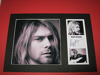 Kurt Cobain Nirvana A4 Mount Signed Reprint Autographs  Dave Grohl Foo Fighters
