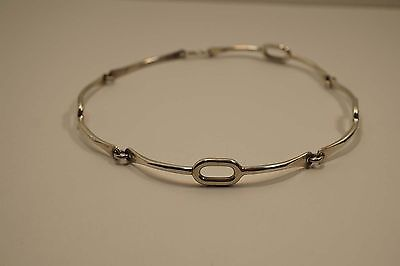 Sterling Silver Modernist Style Choker Necklace Signed Noras   A659