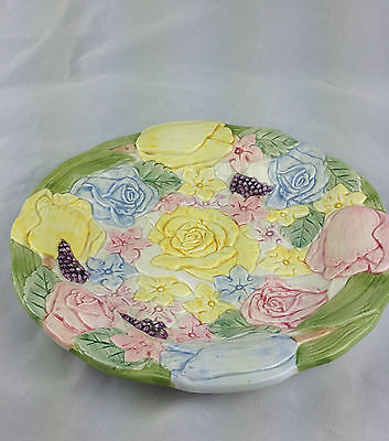 fitz and floyd Bunny Hollow luncheon plate 1989-1993 yellow pink blue florals