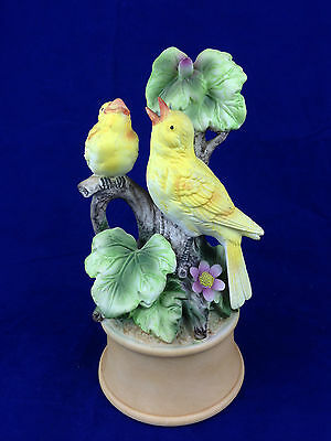 Yellow finch canary porcelain music box made in Japan Shafford wind up music box