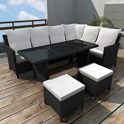 Black Rattan Wicker Outdoor Lounge 8 Seater Set Sofa Couch Furniture Steel Frame