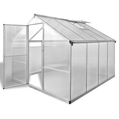 Aluminium Polycarbonate Garden Greenhouse with Base Frame 242x250cm Reinforced