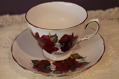 Beautiful Royal Vale Teacup And Saucer #7978 - Deep Red Rose