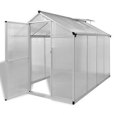 Aluminium Polycarbonate Garden Greenhouse with Base Frame 242x190cm Reinforced
